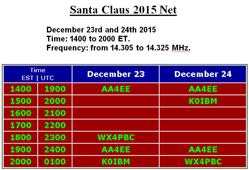 Santa Clause Net 2015 Sched