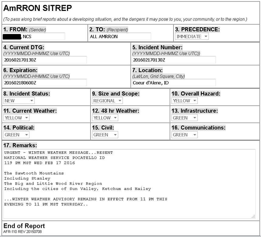 AmRRON SITREP - Feb Winter Weather Advisory